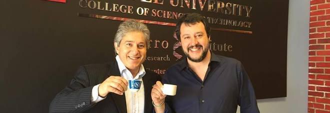 Salvini incontra lo scienziato tifoso del Napoli, a Philadelphia