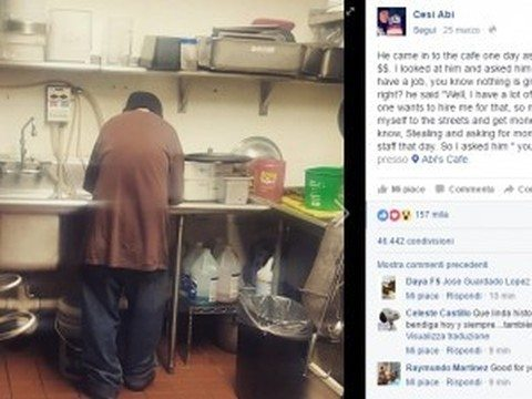 Senza tetto chiede l'elemosina al ristorante, la sua vita cambia