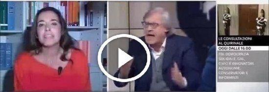 Rissa in diretta tv tra Sgarbi e l'europarlamentare di forza Italia Ronzulli