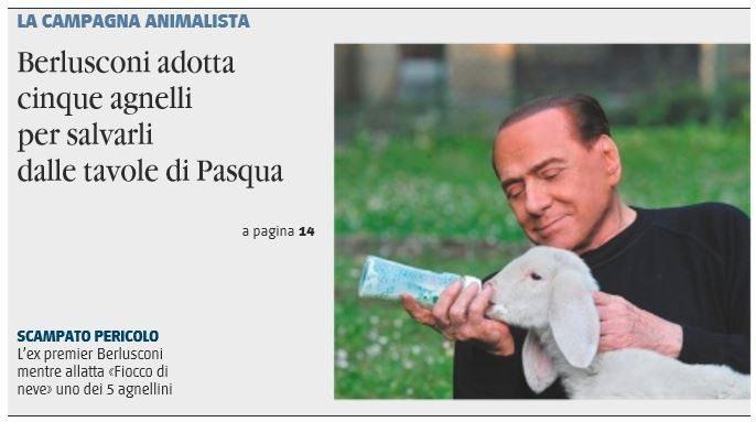 Berlusconi salva 5 agnelli dal pranzo di Pasqua, campagna animalista