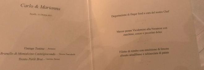 Menu di nozze della sorella di Francesca De Pascale a Ravello