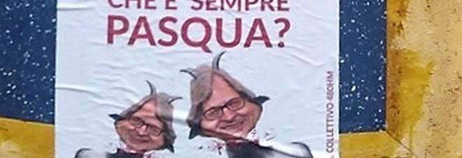 Pomigliano D'Arco: manifesti di Sgarbi con teste mozzate e corna, candidato al collegio uninominale