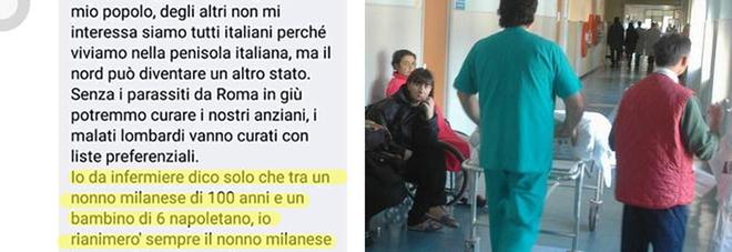 Il post choc dell'infermiere del nord: «Tra un nonno milanese e un bimbo napoletano…»