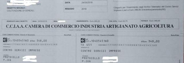 Truffa dei bollettini da 300 euro, non pagate! La camera di commercio