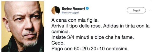 """Enrico Ruggeri e il venditore di rose: """"Gli ho dato un euro, ma non voleva monete"""", polemiche sui social"""