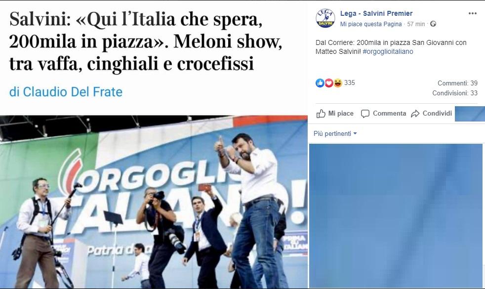 La bufala della Lega sui 200.000 partecipanti alla manifestazione di Roma: smentita della Polizia-Bufale.net