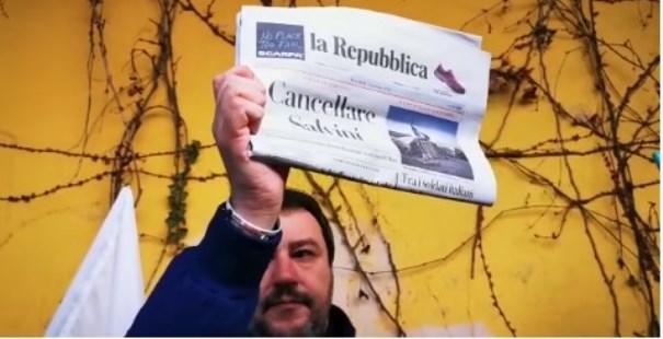 """""""Cancellare Salvini"""", il giornale estremista Repubblica non chiede scusa: """"È stato lui ad attaccarci""""RASSEGNEITALIA➥"""